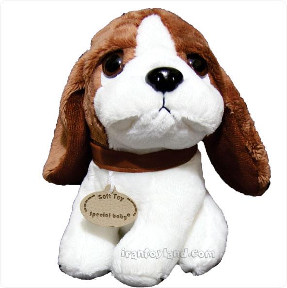 عروسک پولیشی سگ نشسته چشم تیله ای