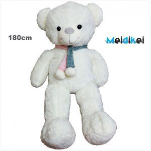 عروسک خرس شالگردنی سفید mdk