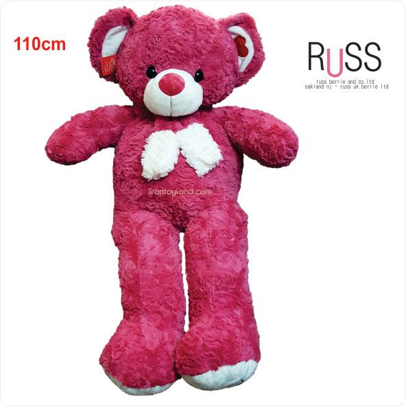عروسک خرس شالگردنی سرخابی