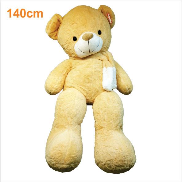 عروسک خرس بزرگ زرد شالگردنی