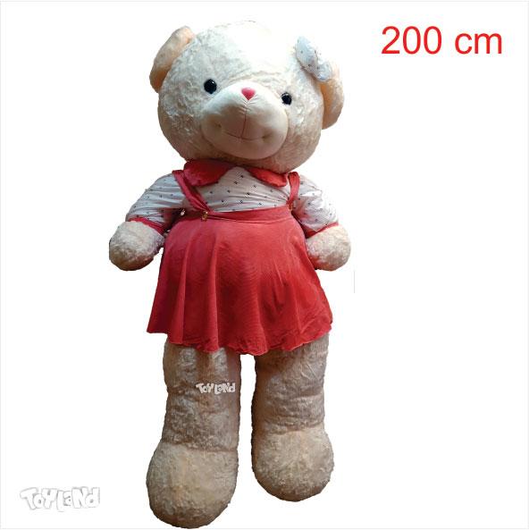 عروسک خرس لباسدار دخترانه 2 متری