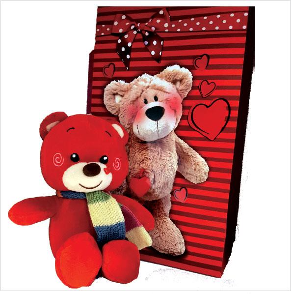 عروسک پولیشی خرس قرمز ولنتاین