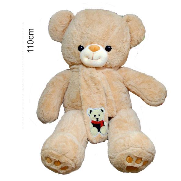 عروسک خرس بزرگ شالگردن دار شکلاتی