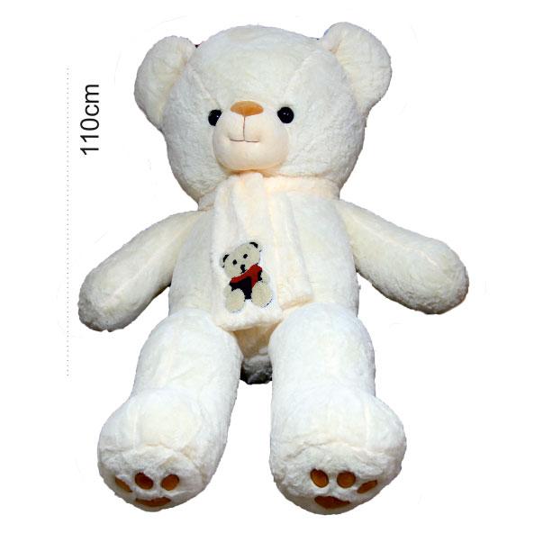عروسک خرس بزرگ شالگردن دار سفید خامه ای