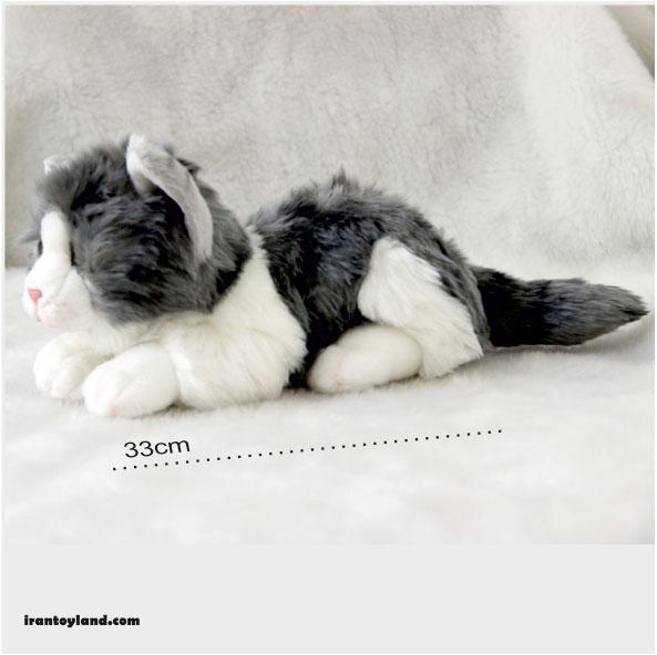 عروسک گربه پولیشی سفید خاکستری