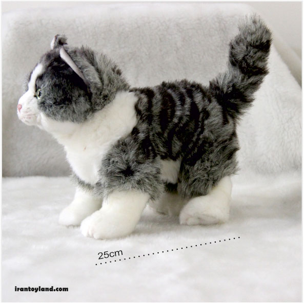 عروسک گربه پولیشی خاکستری و سفید راه راه