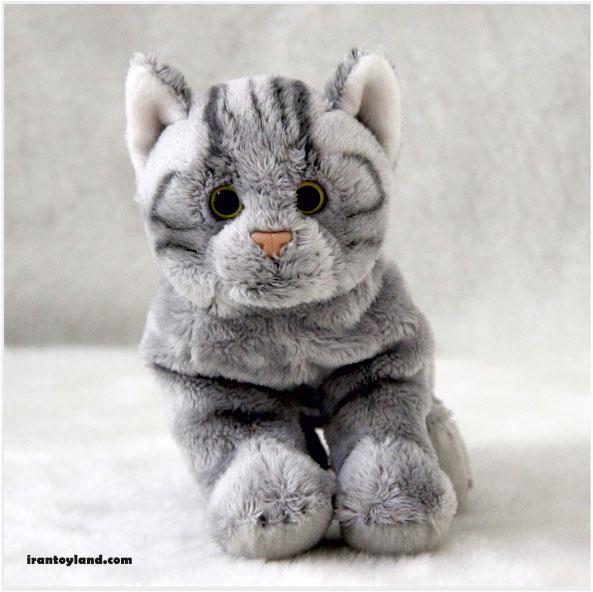 عروسک گربه خاکستری راه راه