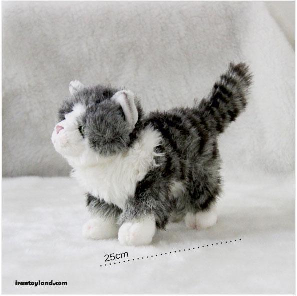 عروسک گربه خاکستری و سفید