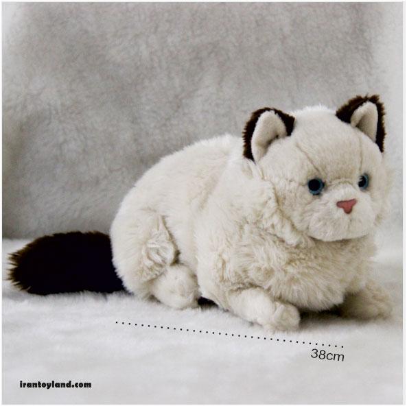 عروسک گربه کرم قهوه ای
