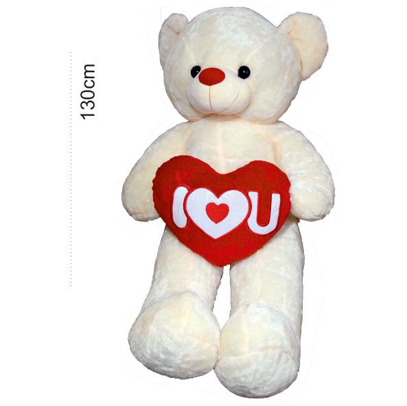 عروسک خرس سفید قلب بدست