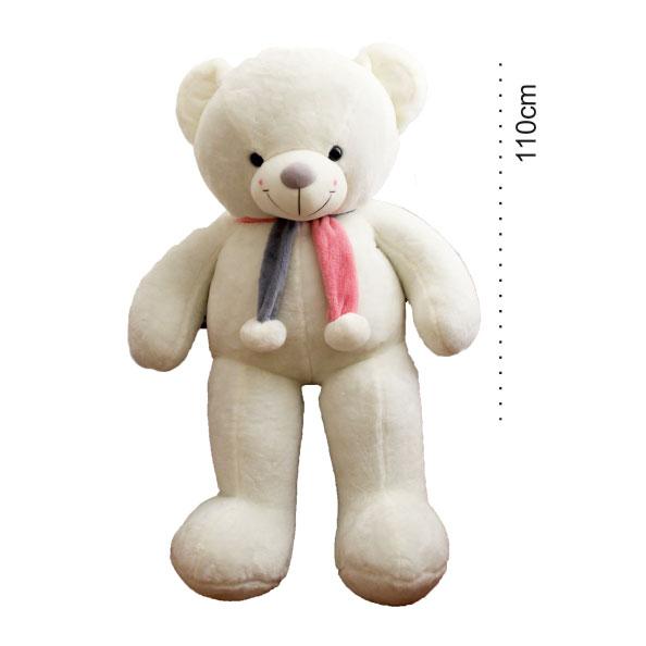 عروسک خرس بزرگ سفید شالگردنی