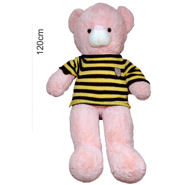 عروسک خرس بزرگ صورتی لباسدار