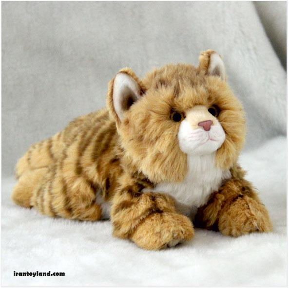 عروسک گربه زرد ایرانی خوابیده