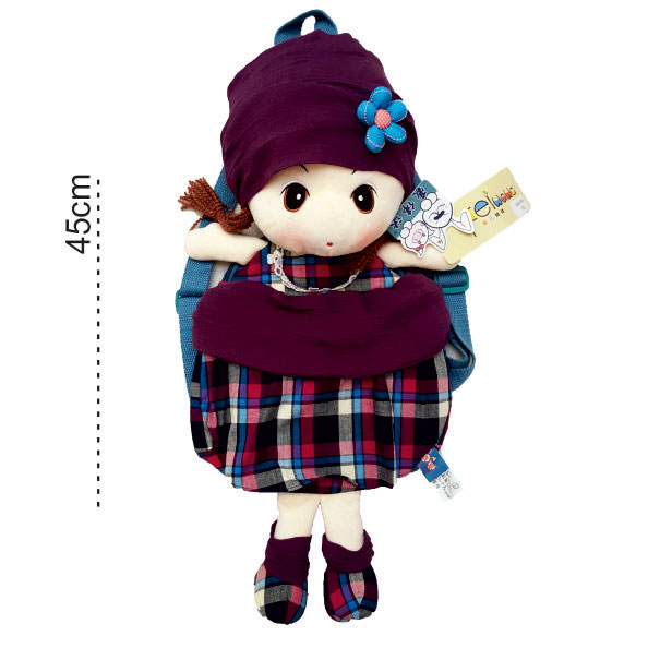 کوله عروسکی چهارخونه hwd