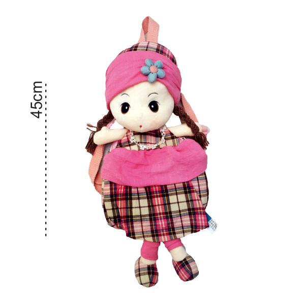 کوله پشتی خردسالی عروسکی چهارخونه hwd
