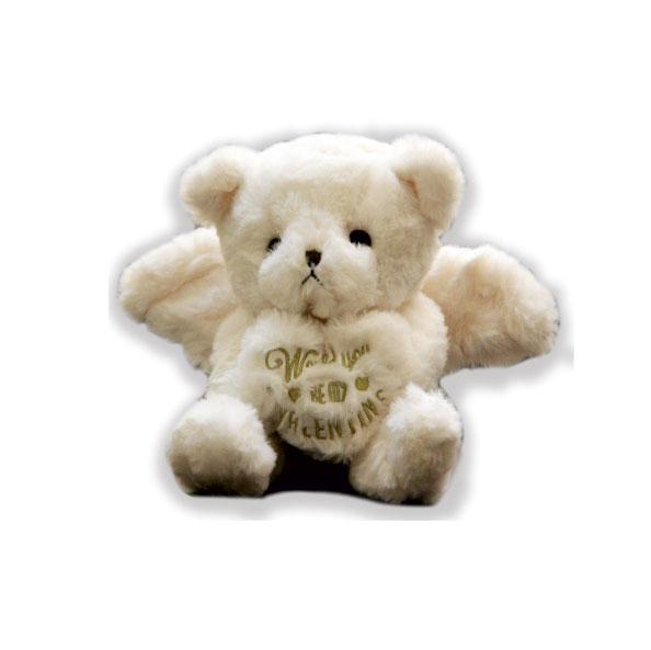 عروسک ولنتاین خرس بالدار سفید