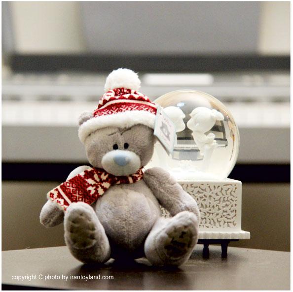 عروسک ولنتاین خرس میتویو زمستانی خاکستری