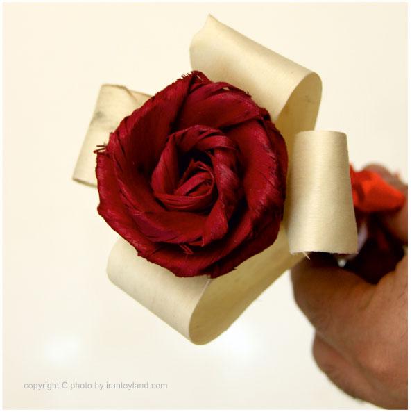 گل رز چوبی دکوری تزیینی