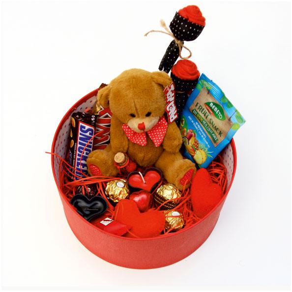 پک هدیه ولنتاین جعبه گرد تدی