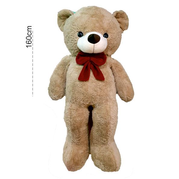 عروسک خرس عسلی 160 پاپیون دار