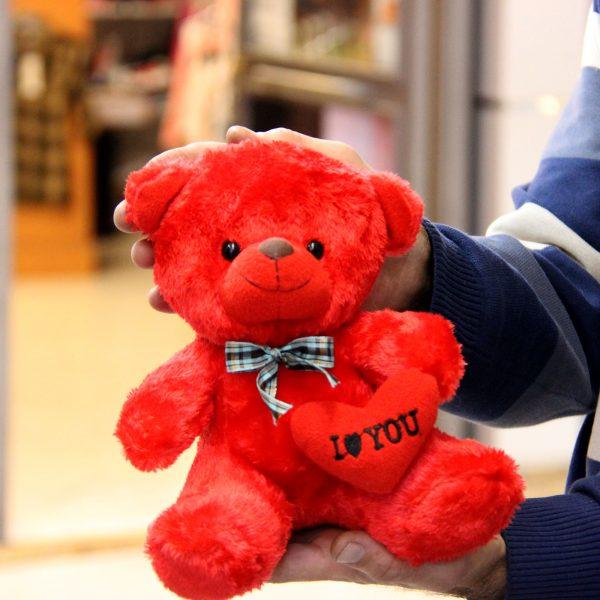 عروسک خرس فرمز قلب بدست